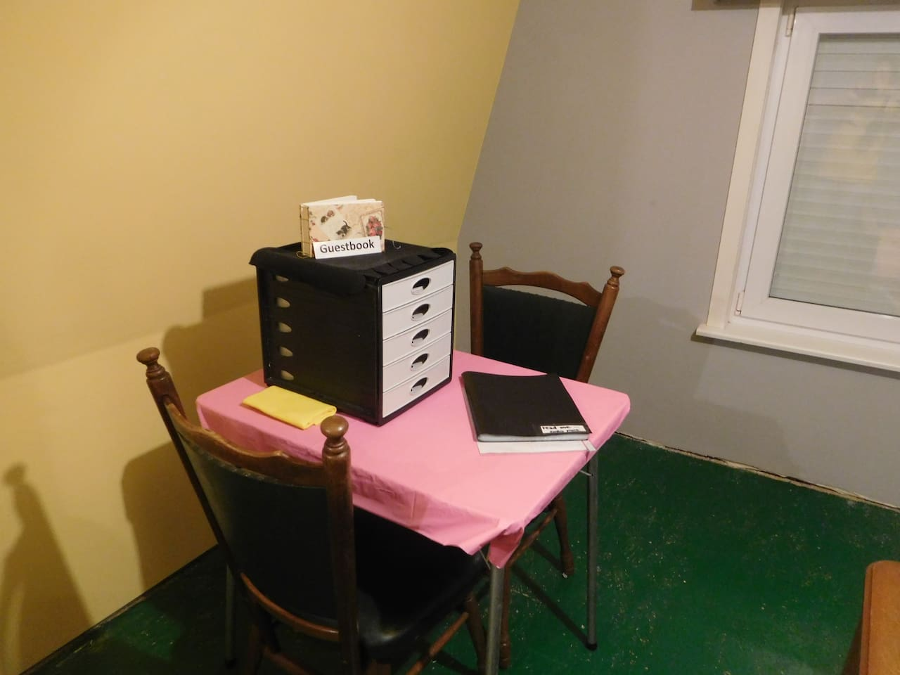 Information about my house and guestbook available in the guestroom upstairs