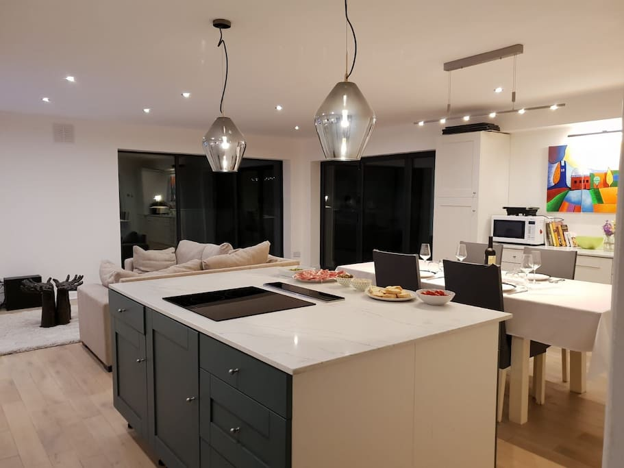Newly refurbished well equipped open plan kitchen and living room.