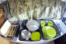 Cutlery, dishes and cooking equipment