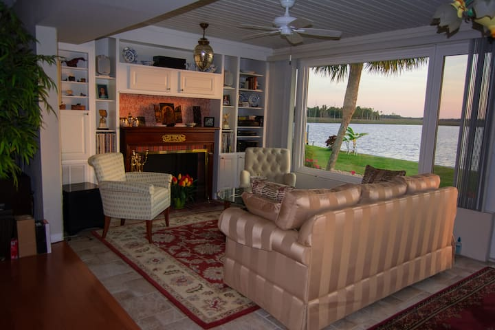 Sitting area with scenic vista of Dixie Bay
