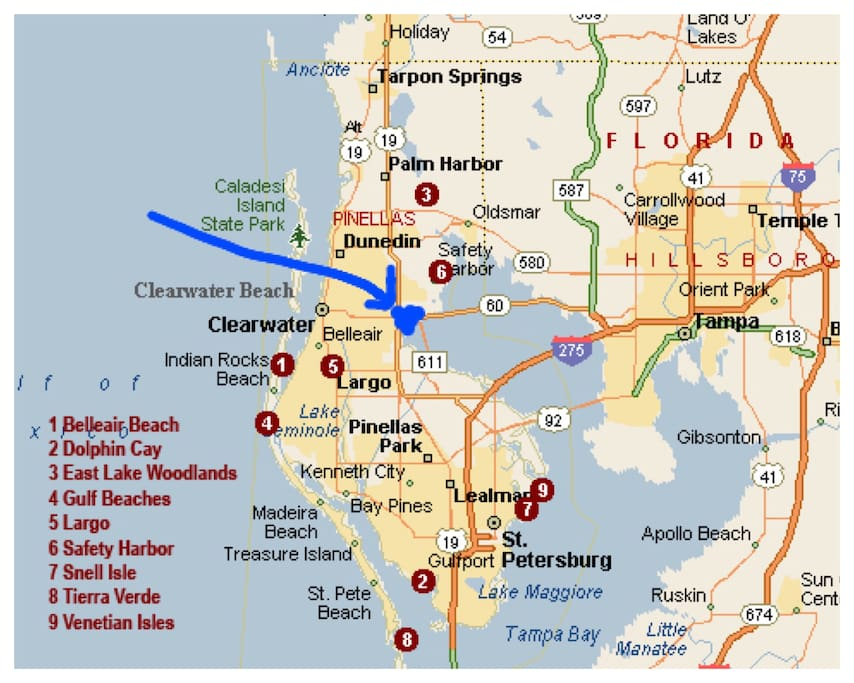 Blue area is the location of rental, depicting distance from surrounding hot-spots like Clearwater Beach.