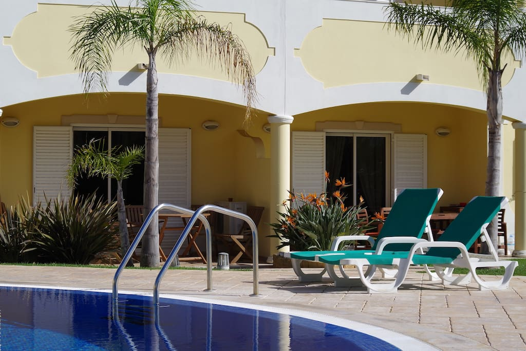 The terrace is just a few steps from swimming pool (morning)