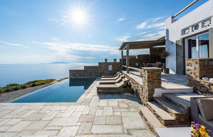 Vathi Bleu | Family Villa with Pool & Sea View