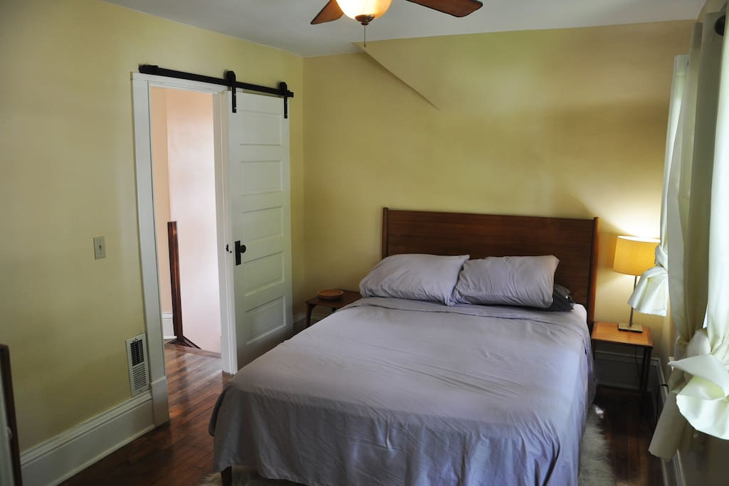 The south bedroom, which has a queen bed.