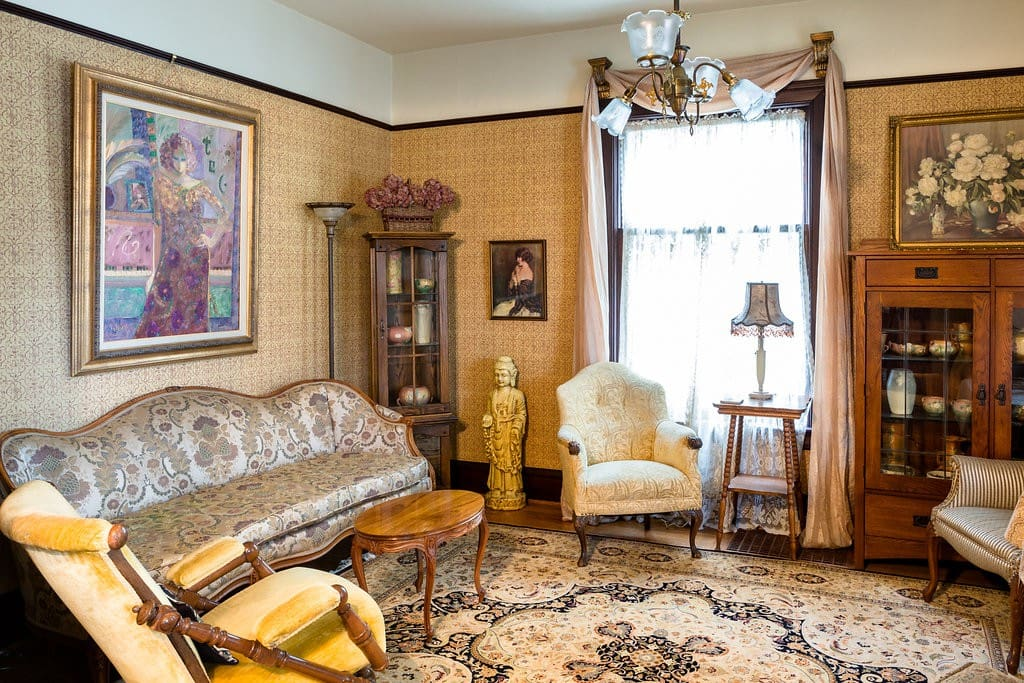 The formal parlor of traditional Victorian double parlor