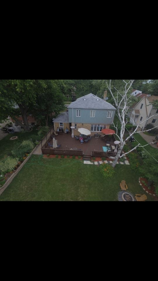 Ariel view of patio deck