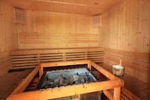 sauna near by the pool