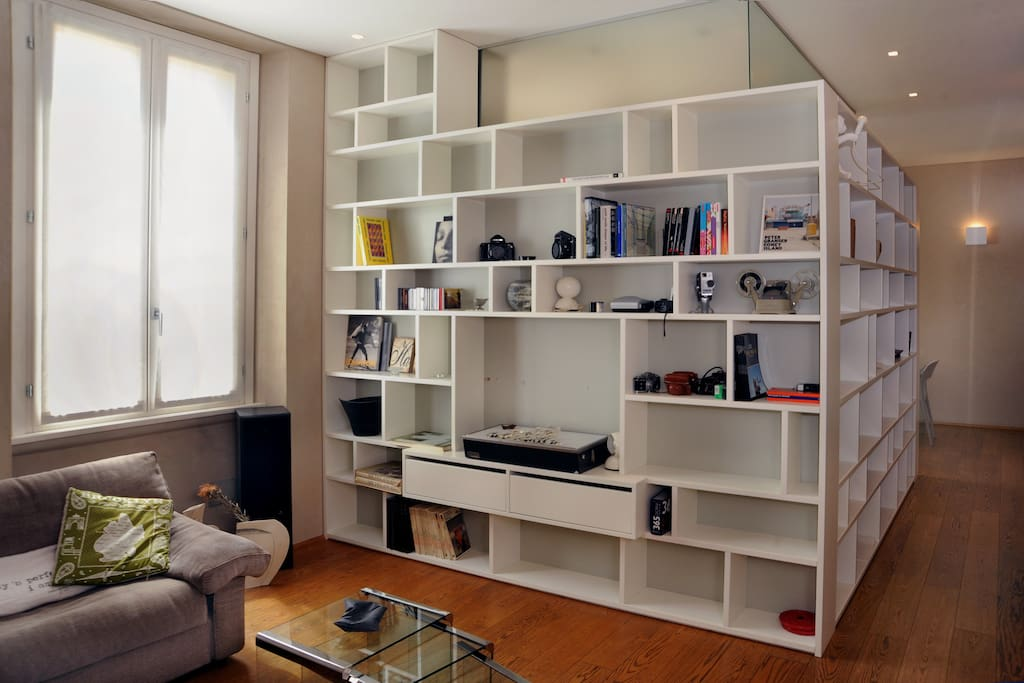 view of bookshelf on the leaving room
