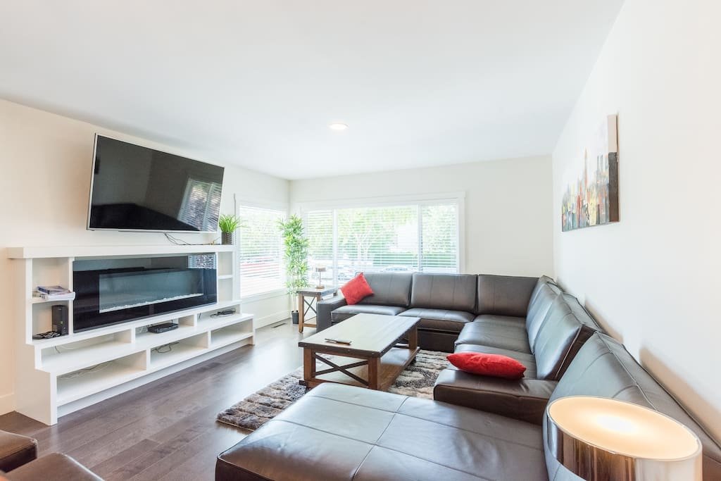 Electric fireplace and big screen tv with full cable package, ability to use your Netflix account and high speed internet