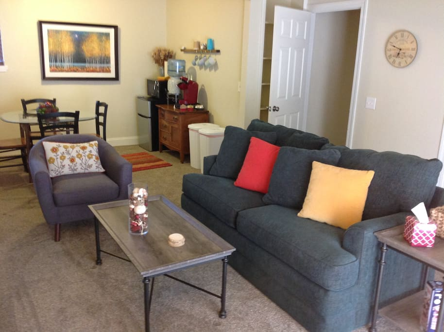 You have a private living space with flat screen TV and access to satellite programming