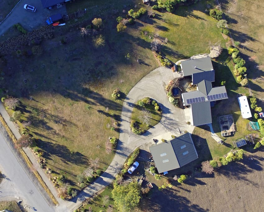 Aerial view of the property, the Cabin is on the right