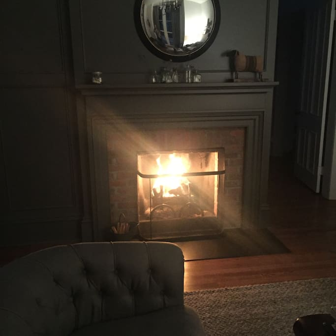 The wood burning fireplace in the living room is perfect for a cozy night. Firewood and fatwood is provided for your use.