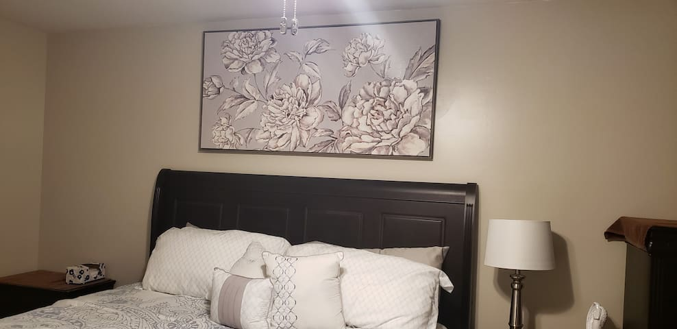 art work in the master bedroom