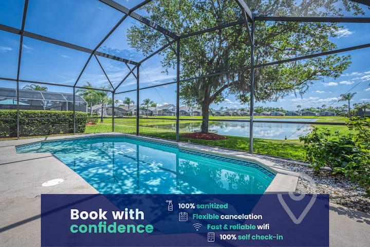 Lake View Private Pool Home at Resort Near Disney!