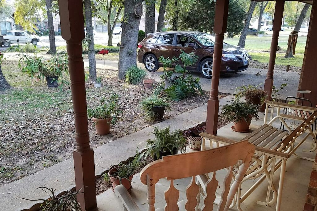 Front porch swing and rocking chair
