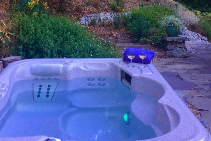 Enjoy your private hot tub anytime night or day!