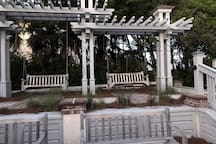 Coligny Circle -  Restaurants and shops.