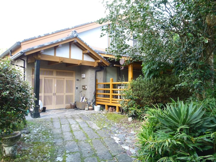 Japanese house with a large wooden deck