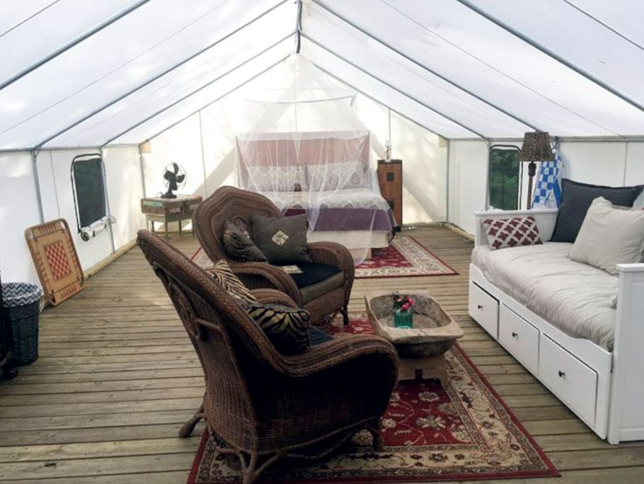 Almost 500 Square Feet, King Bed under romantic mosquito netting. And 2 twin beds available too