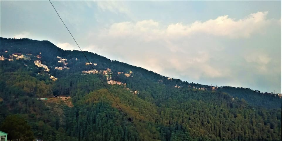Scenic view of the Queen of hills Shimla from room balcony.