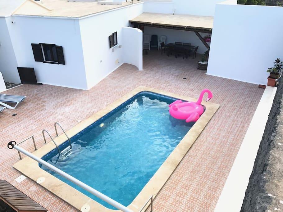 piscina y terraza trasera