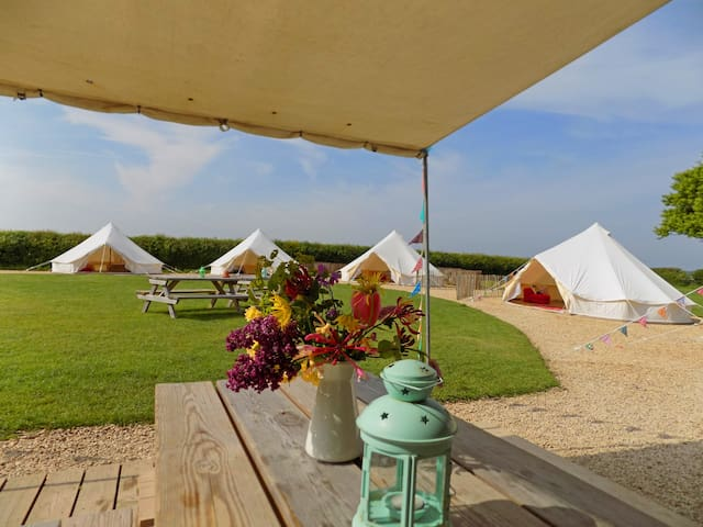 Belltent Group Glamping for 20 with Activity Tent.