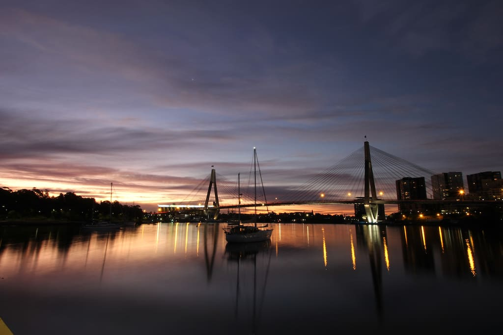 Blackwattle Bay in Sydney harbour at sunset. 2 mins walk.
