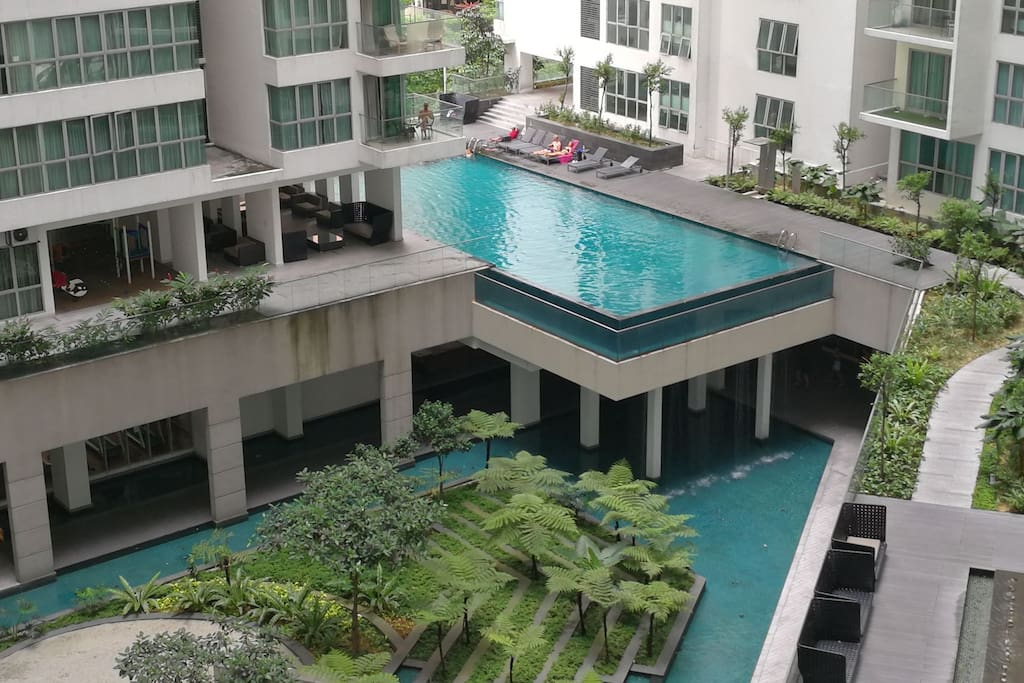 pool for adaults and kids at 5th floor. Mini garden at level 4 where lobby located.