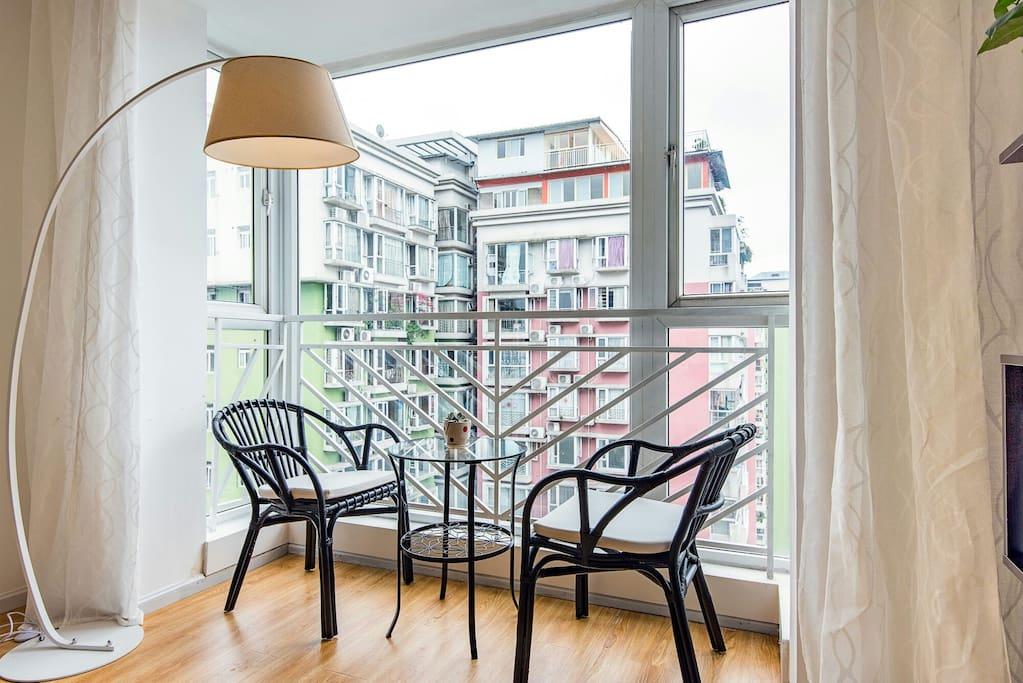 阳台,休闲区域,喝茶,聊天