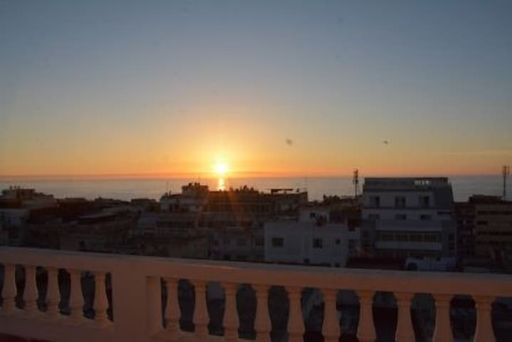 Roof terrace : a panoramic view of the ocean, and beautiful views at the sunsets.