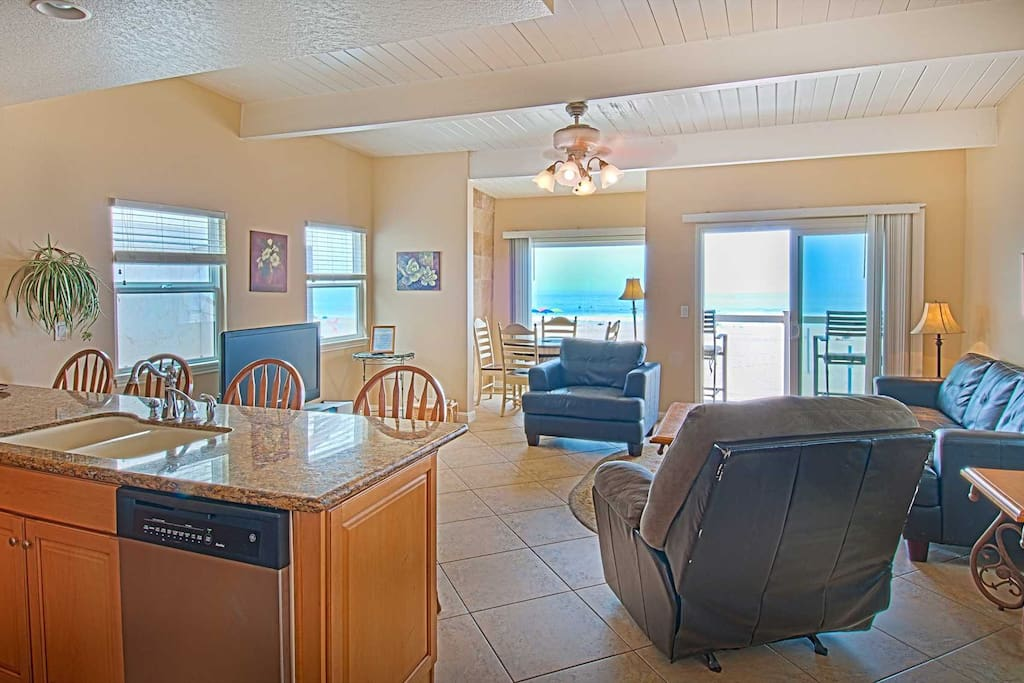 Kitchen-Family-Dining Area showing view to the beach