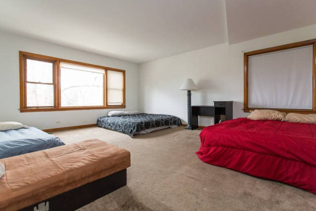 The shared sleeping space.  This listing is for the futon only.  There are 3 other listings sharing this room.  Please inquire.