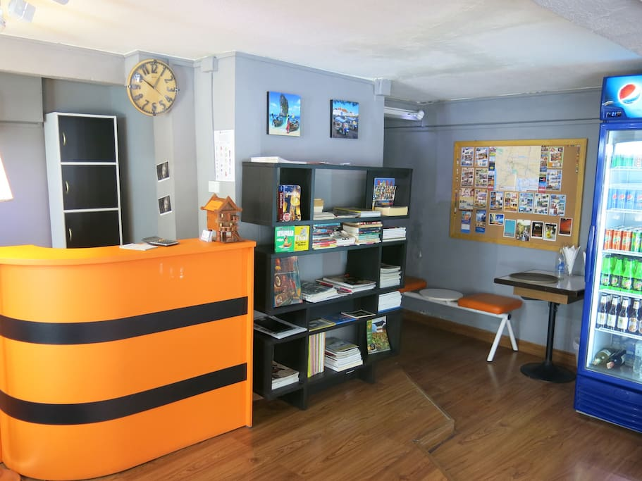 small library at disposal with many information and beverage fridge