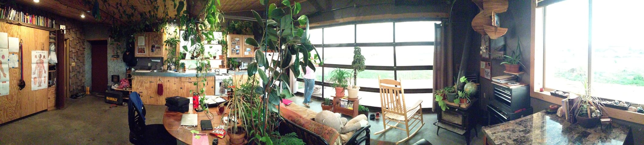 Panorama of the inside of the studio