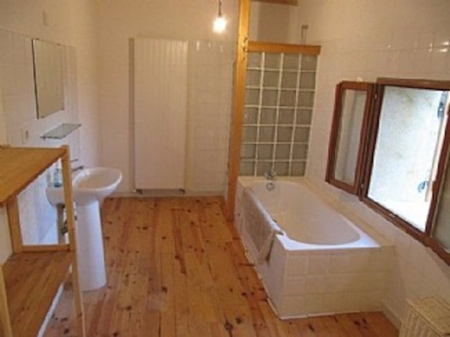 The large bathroom with shower and bath