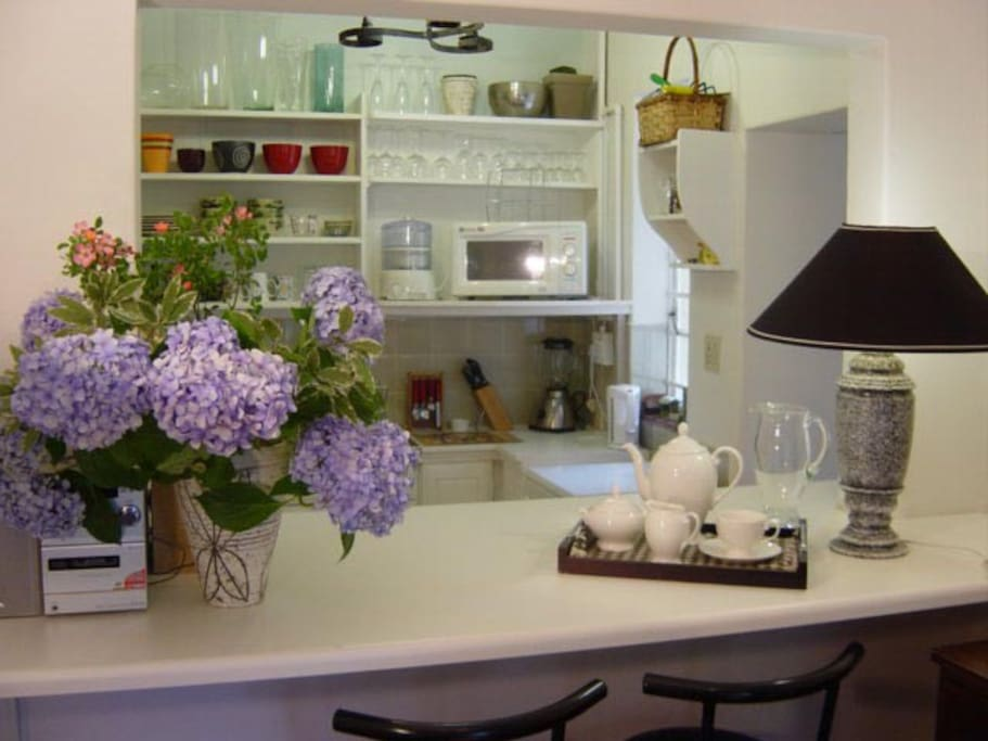 Lounge open plan to kitchen with large serving counter