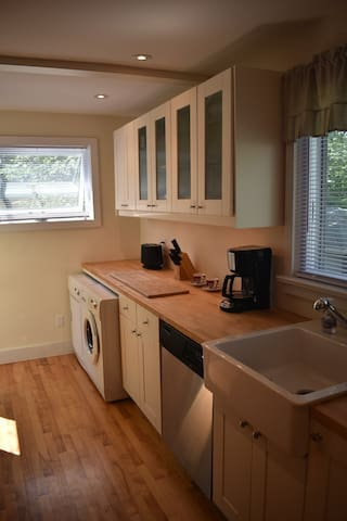 Kitchen looking toward the back door.