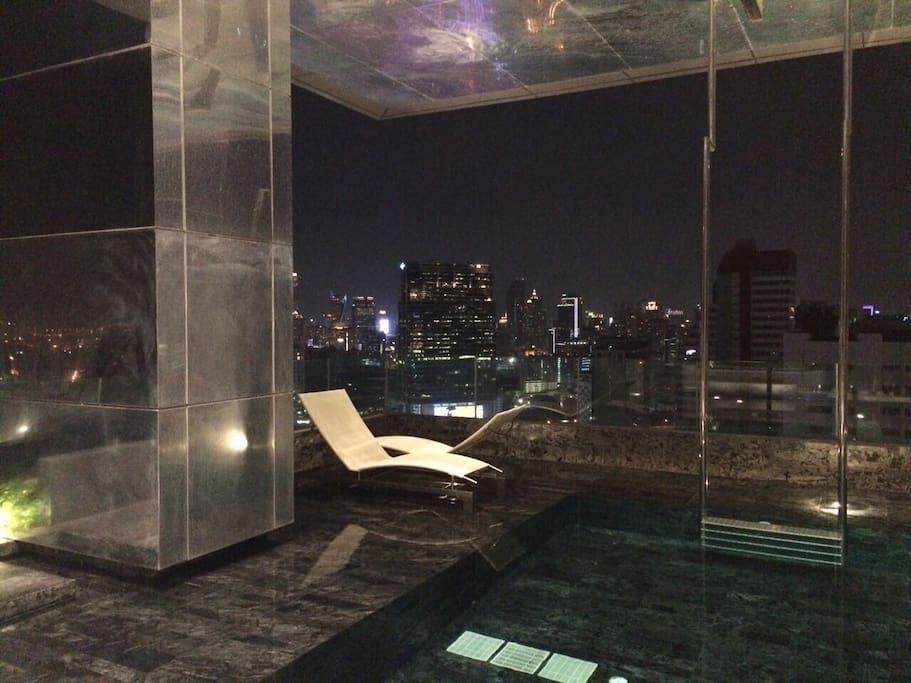 Swimming pool. Most beautiful 180 degrees view of Bangkok at our 3 facilities floors