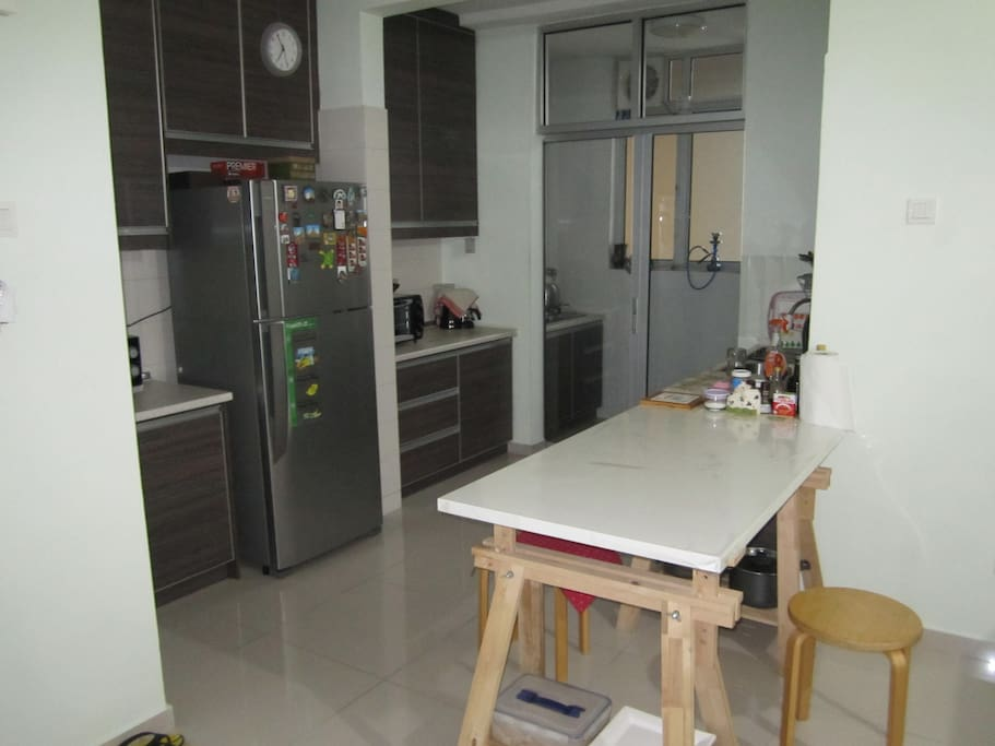 Kitchen with oven and washing machine. you can cook and wash!