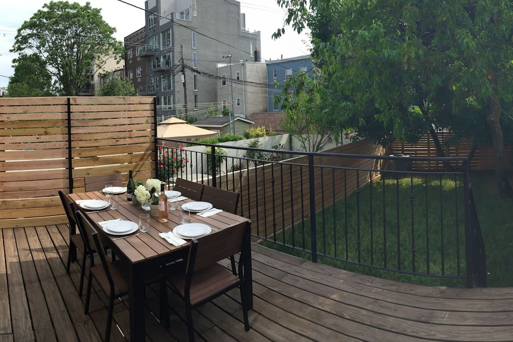 Our home has an incredibly rare amenity: a private backyard! Kids can run around in the grass; you can dine al fresco -- or simply enjoy a glass of wine and some peace and quiet after a long day of sightseeing.