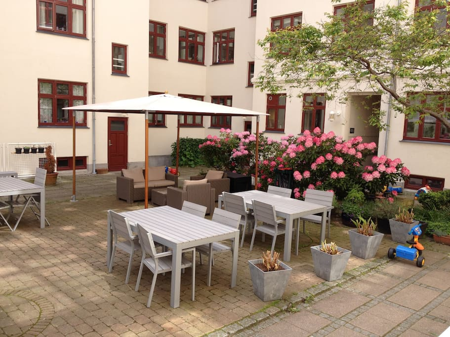 From the apartment you can go directly out in the beautyfull and cozy patio