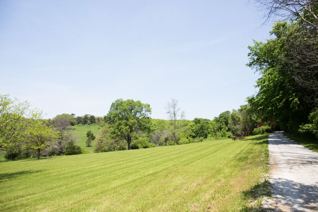 Approach drive along front pasture