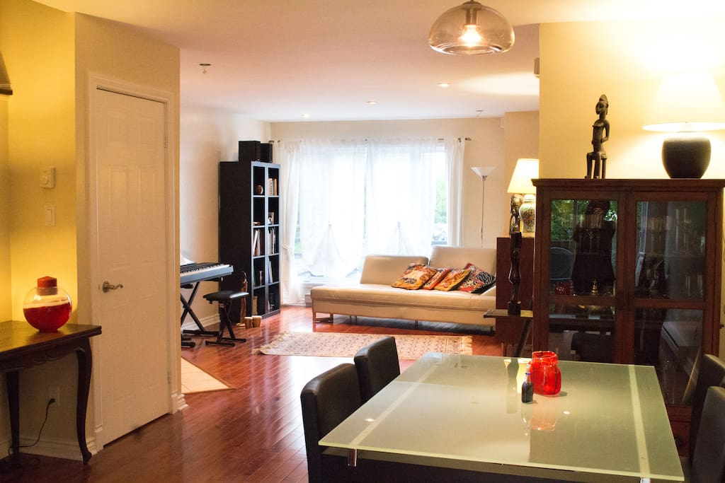 Living room and dinning room, toilet on the main floor. Access to the private deck and garden