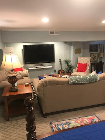 """Living area with 55"""" TV"""