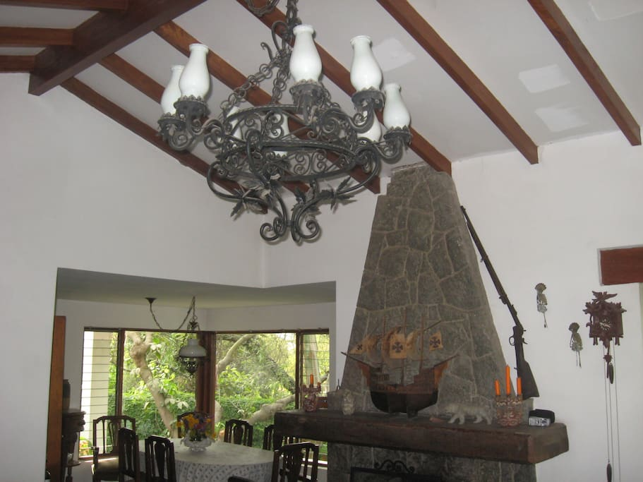 sala comedor con vista al jardín y chimenea