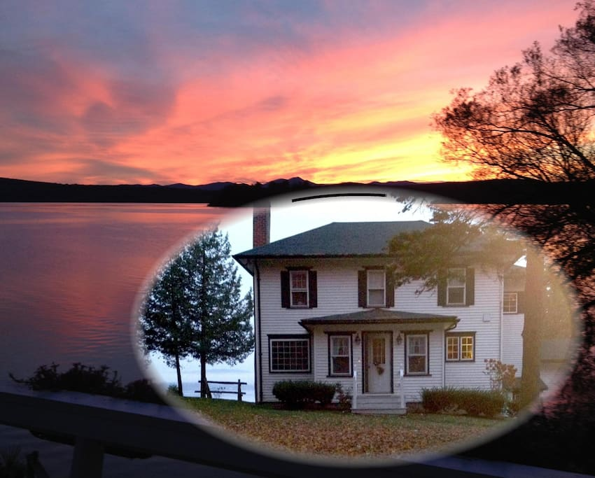 Enjoy the glorious sunsets from our all season home on the lake.