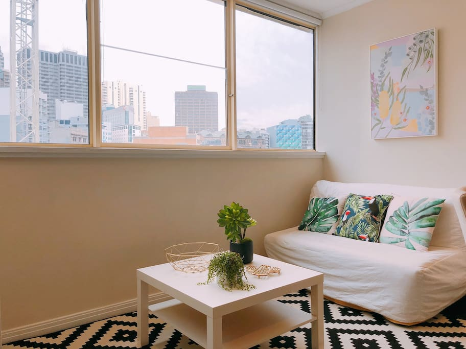 Living room with amazing city views