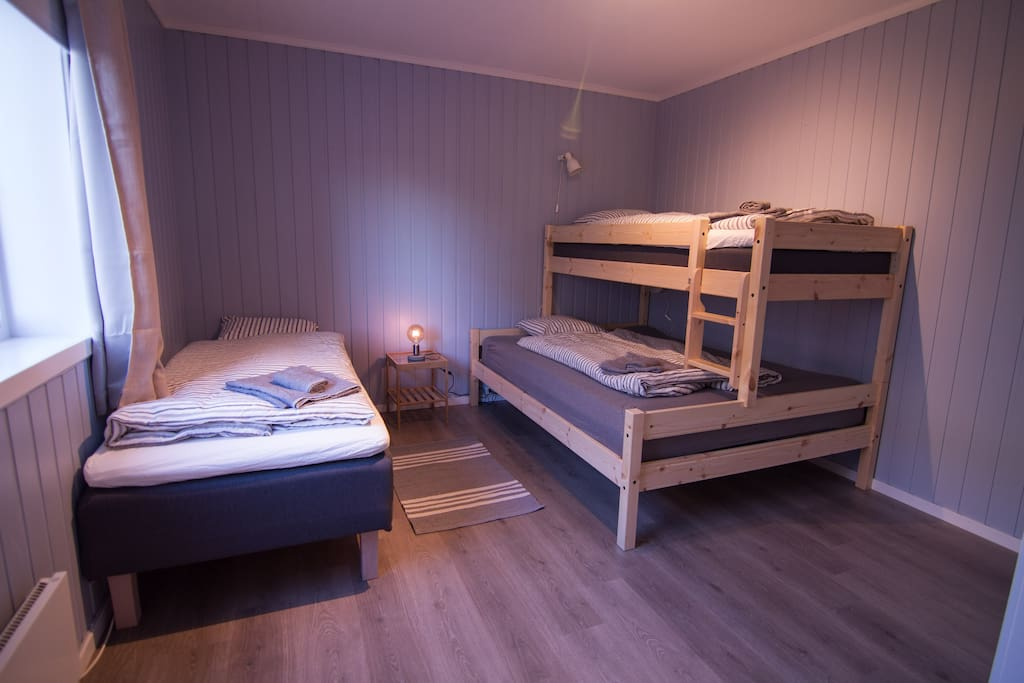 Bedroom one. One bunkbed with 90cm wide bed in the upper bed and 150cm width in the lower. And a single bed of 90 cm width.