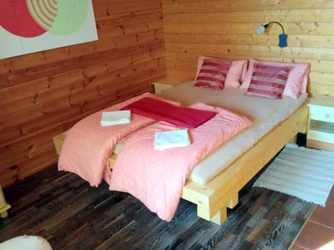 Cozy room in wooden eco-house in Moravian Karst