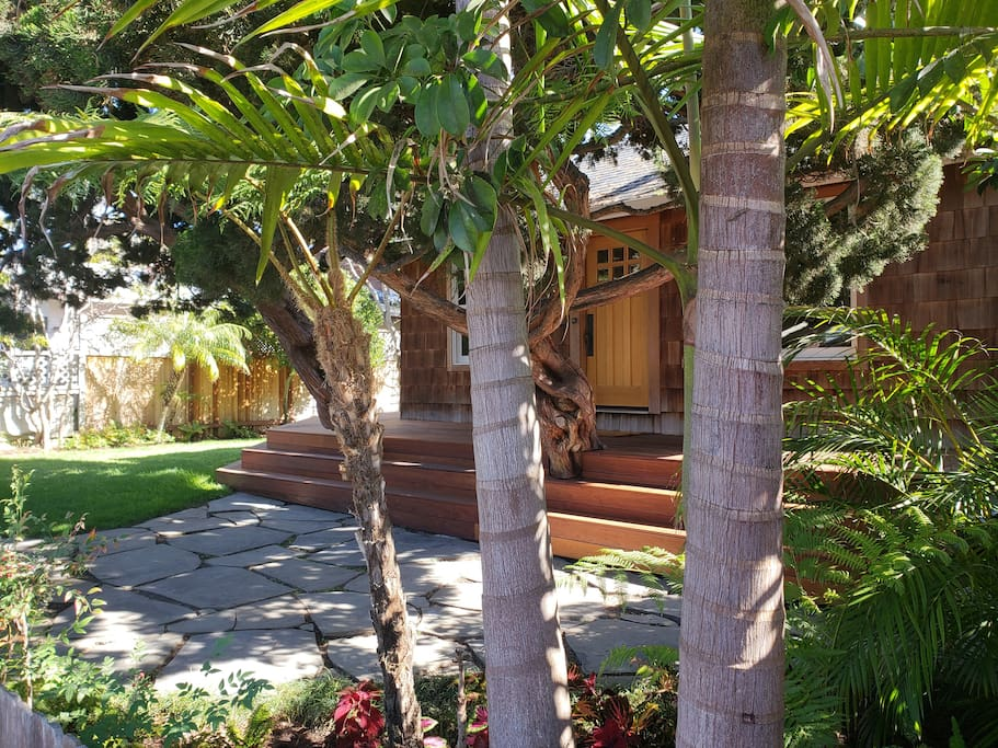Lush landscaping and plenty of shade to escape from the hot summer sun.